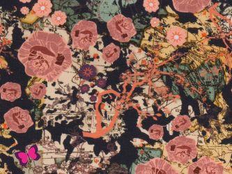 Chinese Roses Jersey Bienvenido Colorido