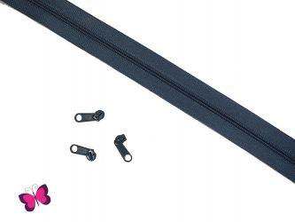 Endlosreißverschluss + 3 Metallzipper / Schieber