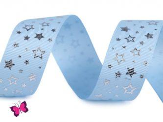 Sterne Ripsband 25 mm silber