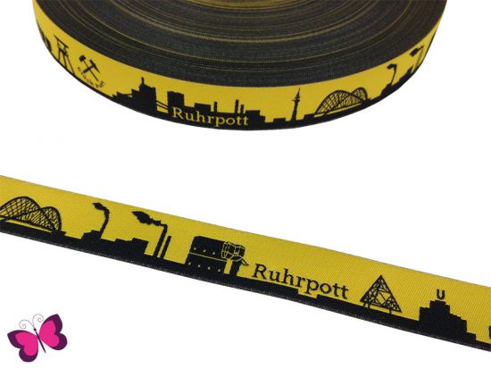 Meine Heimat - RUHRPOTT Skyline Webband in gelb