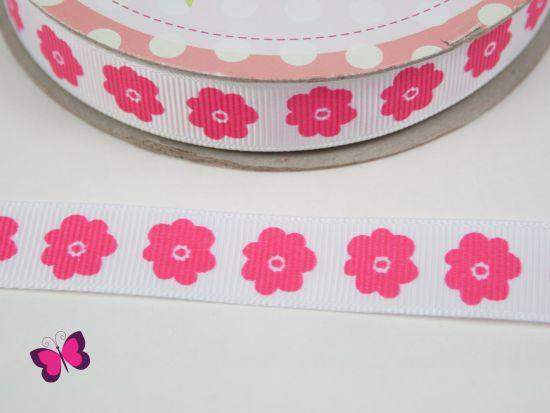 Ripsband Riley Blake Flower Blumen pink weiß