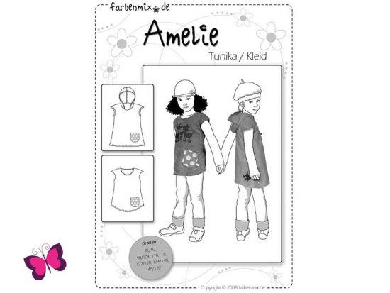 Schnittmuster Amelie Farbenmix Mädchen Tunika Kleid