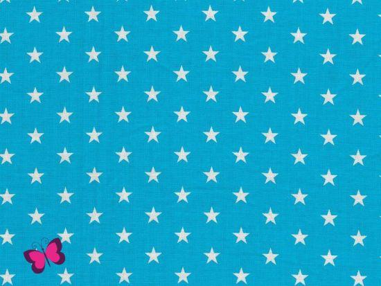 Baumwolle Sterne weiß helltürkis
