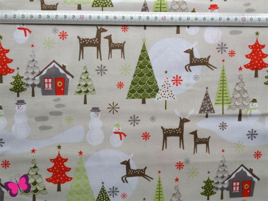 Baumwolle Christmas Weihnachtslandschaft grau Riley Blake