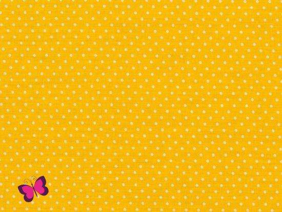 Baumwolle kleine Punkte Dots Weiss gelb