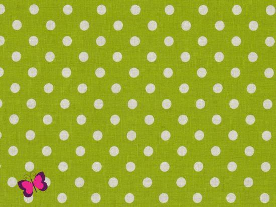 Baumwolle Punkte Dots Weiss hellgrün