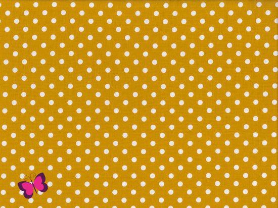 Baumwolle Punkte Dots Weiss Swafing senf