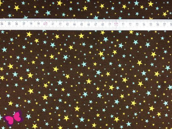 Baumwolle Sevenberry Sterne in braun