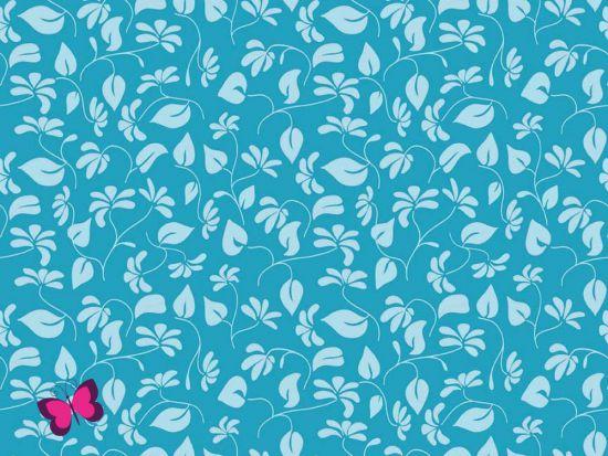 Baumwolle Splendor Blätter Blau