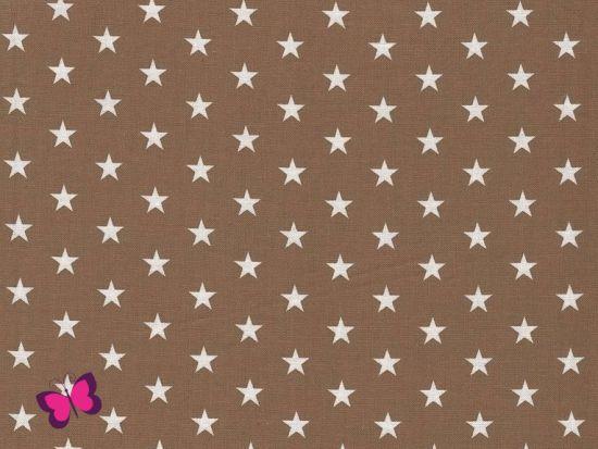 Baumwolle Sterne weiß beige