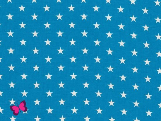 Baumwolle Sterne weiß dunkeltürkis
