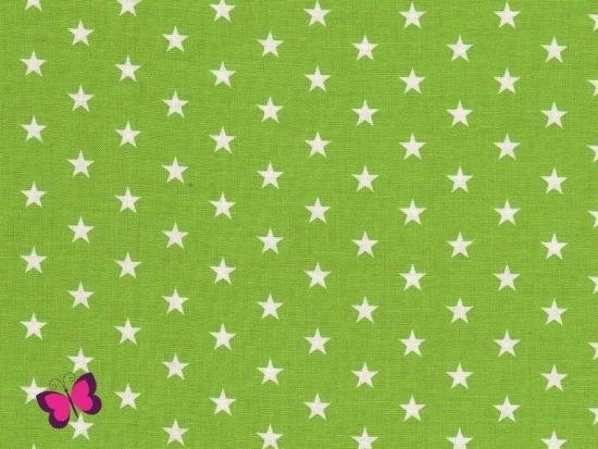 Baumwolle Sterne weiß hellgrün