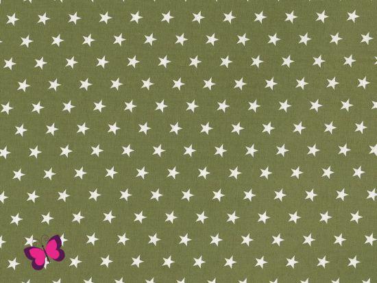 Baumwolle Sterne weiß oliv