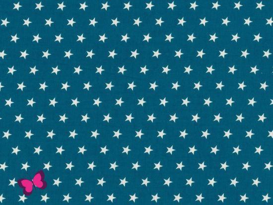 Baumwolle Sterne weiß petrol