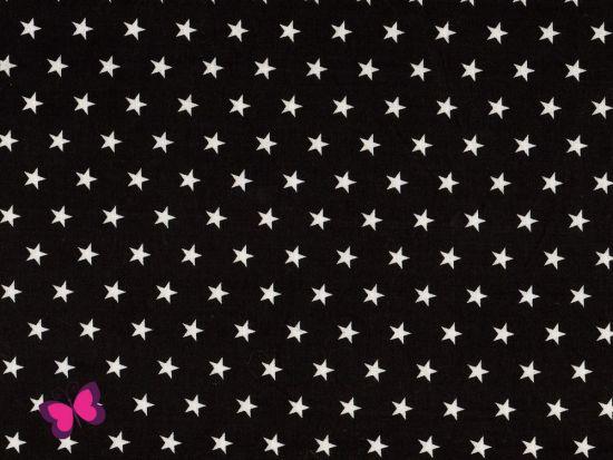 Baumwolle Sterne weiß schwarz