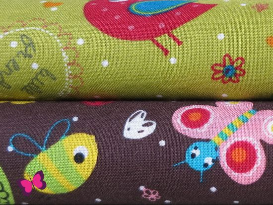 Blumenwiese Baumwolle mit Vögeln und Blumen