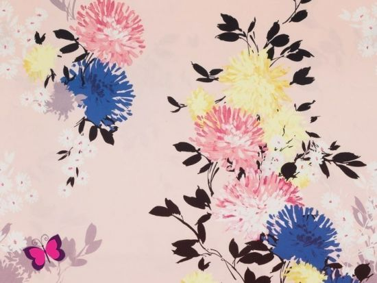 Ina Baumwollsatin mit Blumen
