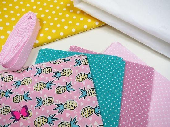 Ananas Punkte Stoffpaket Patchwork Decke