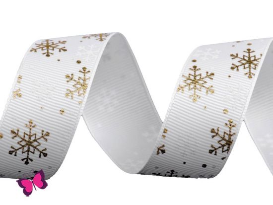 Schneeflocken Ripsband Schneeflocken weiß gold