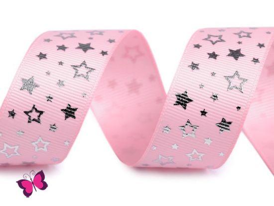 Sterne Ripsband 25 mm silber rosa