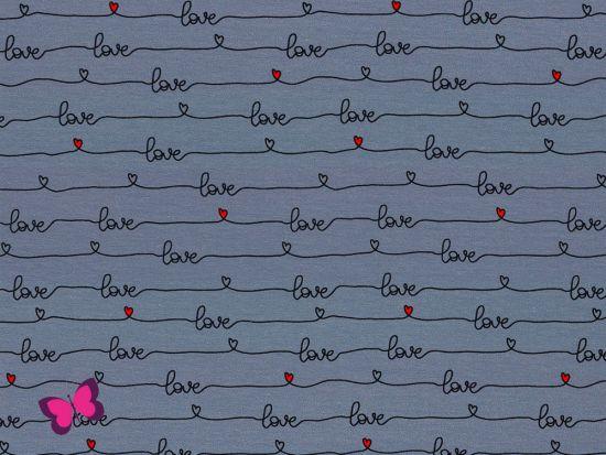 Rosie Sweat Schriftzug Love rauchblau