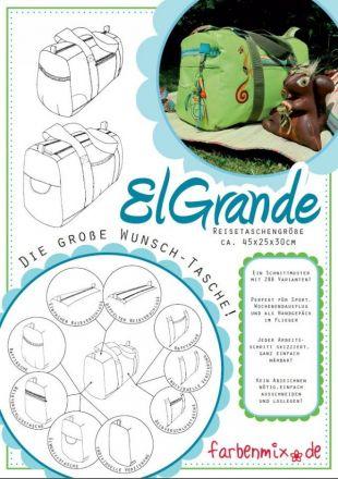 Schnittmuster ElGrande Farbenmix Reisetasche & Schnittmuster