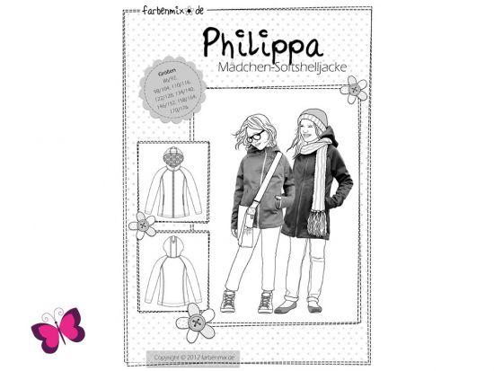 Schnittmuster Philippa Farbenmix Softshelljacke Mädchen Jacke