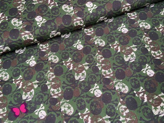 Totenkopf Baumwolle grün braun