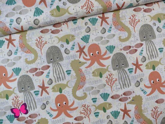Under the ocean Blue Baumwolle Tiere