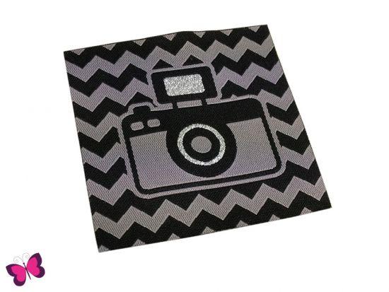 Webetikett Kamera in grau schwarz mit Glitzerfaden